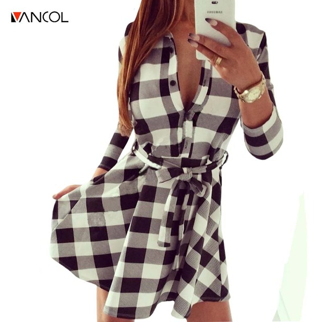 Vancol 2016 denim dress vrouwen plaid dress zwart vestidos femininos v-hals dress shirt geruite zomer vrouwen plus size dress