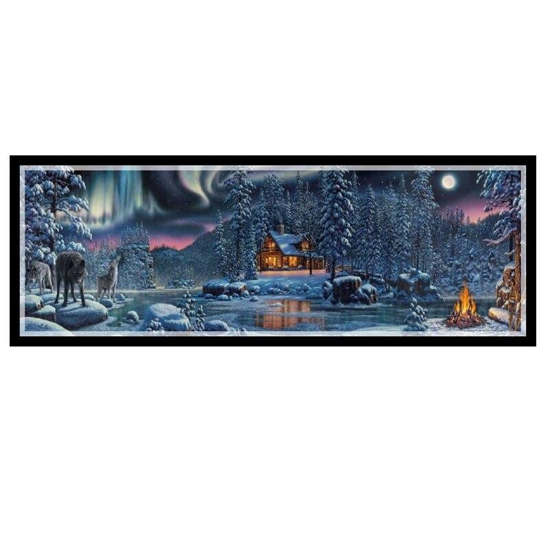 Złoty Panno, robótki, hafty, DIY krajobraz malarstwo, ściegiem krzyżykowym, zestawy, 14ct rzek domu Cross stitch, zestawy do haftu w Zestaw od Dom i ogród na  Grupa 1