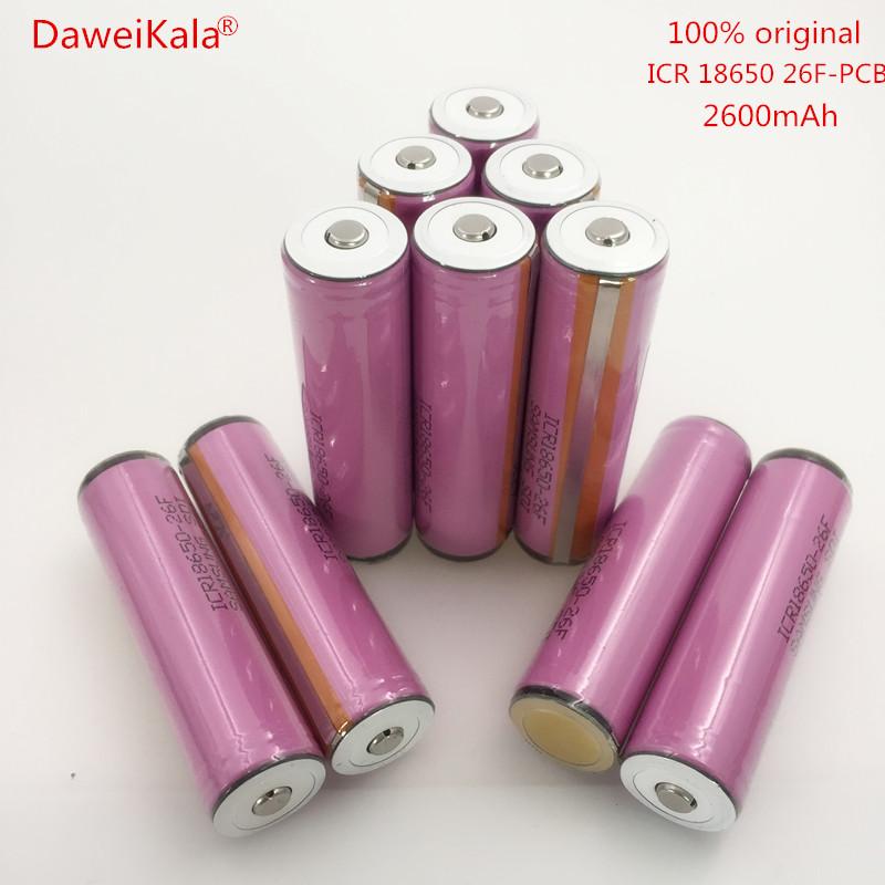 Prix pour DaweiKala 20 PCS/lot Origine protégée 18650 batterie 3.7 V 2600 mAh rechargeable batterie batteries ICR18650-26FM usage Industriel