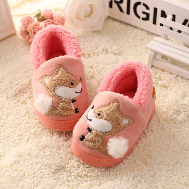 Children'S Cotton Home Slippers Shoes Kids Baby Autumn/ Winter Cartoon Fox Soft Bottom Shoes Boys Baby Warm Indoor Slippers
