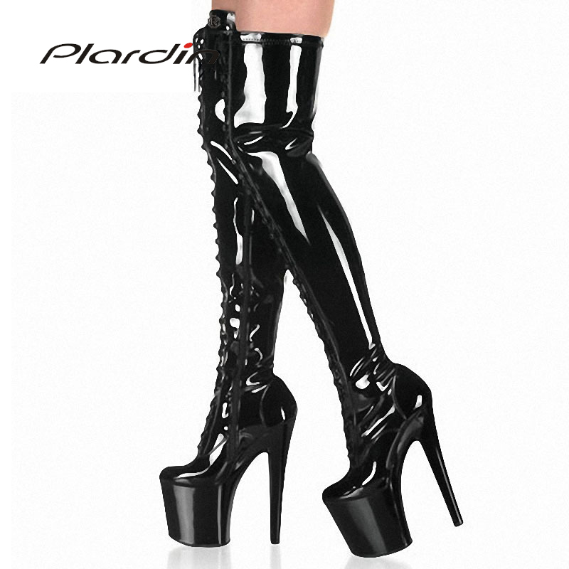Plardin Plus Size 35 46 Sexy Transparent And Black 20CM High Heels10CM Platform Cross tied knee high Nightclub Dance Party Boots