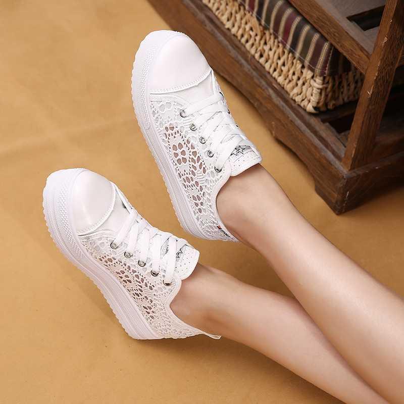 WXWSWZ 2019 แฟชั่นฤดูใบไม้ผลิฤดูร้อนสบายๆสุภาพสตรีรองเท้า cutouts ลูกไม้ผ้าใบ hollow breathable แบนรองเท้าผู้หญิงรองเท้าผ้าใบ