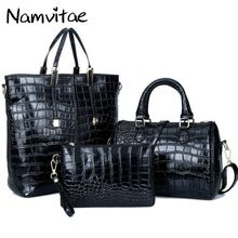 Namvitae Crocodile Pattern 3Bags Set Women Handbags High Quality Pu Leather Female Totes Messenger and Purse