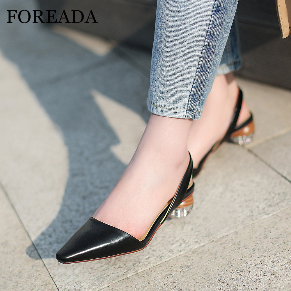 FOREADA Women Slingbacks Shoes High Heels Natural Genuine Leather Strange Style Heel Shoes Cow Leather Transparent