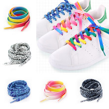 1 Pair Fashion Printed shoelaces Rainbow gradient Flat Shoe Laces polyester laces Cute Pink Elastic Shoe Lace strings(China)