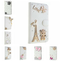 For Samsung Galaxy Ace Plus S7500 Wallet Stand Bling Crystal Diamond Leather Case Handmade Fashion 3D