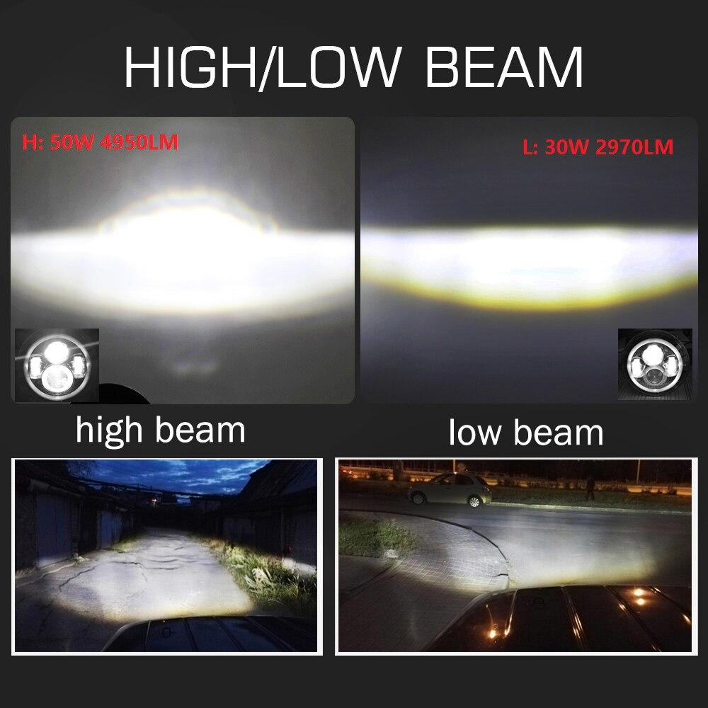CO LIGHT 7 Tums Led-strålkastare H4 DRL Runda 7 '' Strålkastare med - Bilbelysning - Foto 2