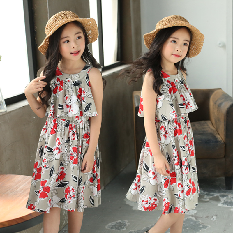 new fashion sleeveless print floral 2018 dresses girls summer kids dress baby little gir ...