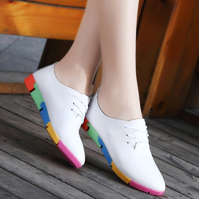 Best & cheap new breathable genuine leather flats shoes woman 2