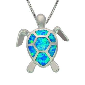 Blue Fire Opal Stone Sliver Sea Turtle Pendants For Women PJ17082712