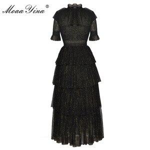 Image 2 - Женское платье с люрексом MoaaYina, дизайнерское подиумное летнее платье с воротником стойкой, короткий рукав бант, Сетчатое нарядное платье для вечеринок