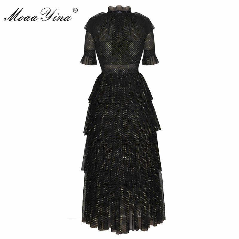 MoaaYina модное дизайнерское подиумное платье Летнее женское стоячий воротник короткий рукав бант сетка люрекс Элегантное нарядное платье