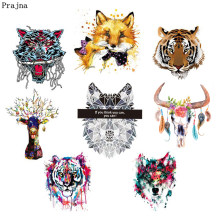 Prajna Animal Iron-on Patch Wolf Patches Indian Punk Skull Rock Iron On Transfer Sticker For Biker Man Clothing T-shirt Jean DIY(China)