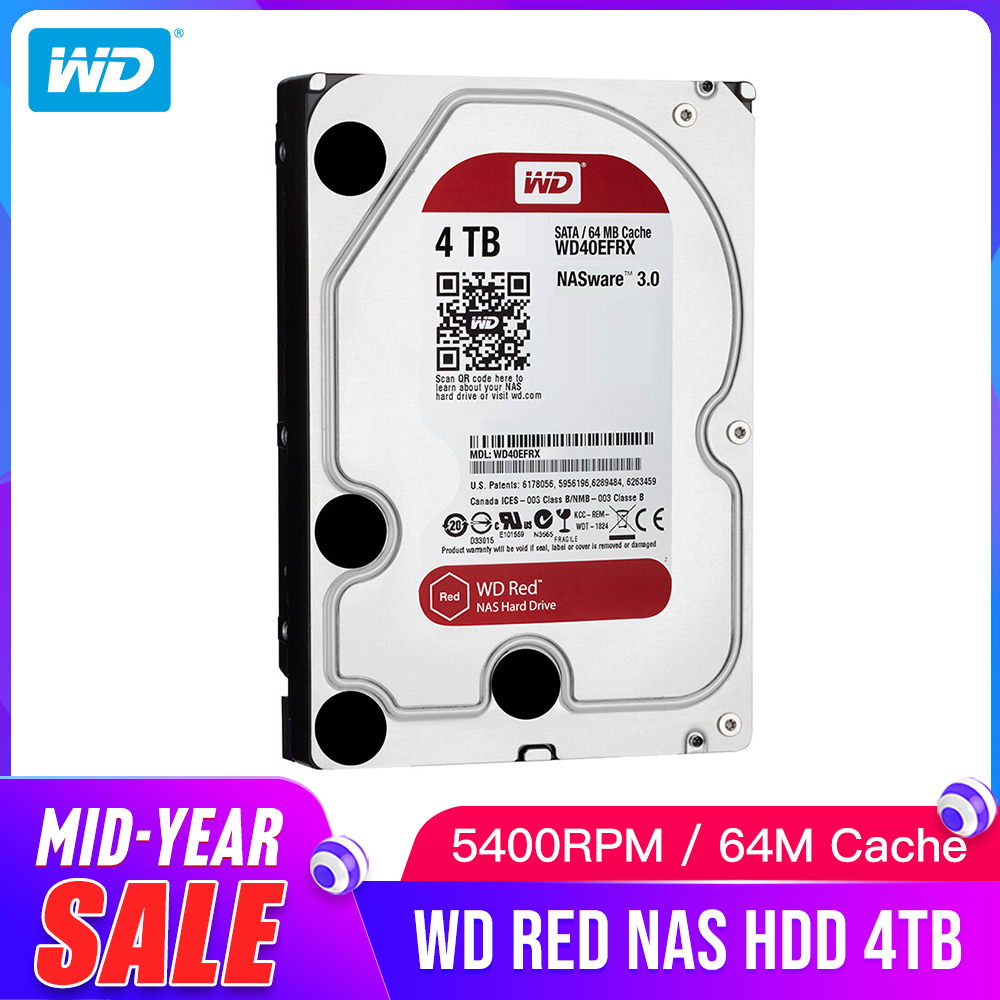 Western Digital WD Red NAS Hard Disk Drive 2TB 3TB 4TB - 5400 RPM Class SATA 6 GB/S 64 MB Cache 3.5-Inch for Decktop NasWestern Digital WD Red NAS Hard Disk Drive 2TB 3TB 4TB - 5400 RPM Class SATA 6 GB/S 64 MB Cache 3.5-Inch for Decktop Nas