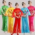 2016 Real Bordado Con Lentejuelas Trajes De Danza Folclórica China Fan Pañuelo Ropa Yangko Tambor Rojo \ azul Nacional de Rendimiento