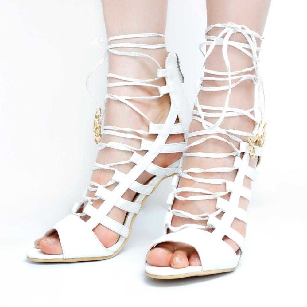ФОТО New Popular Women Sandals Elegant Peep Toe Thin Heels Sandals Stylish White Shoes Woman Plus US Size 4-15