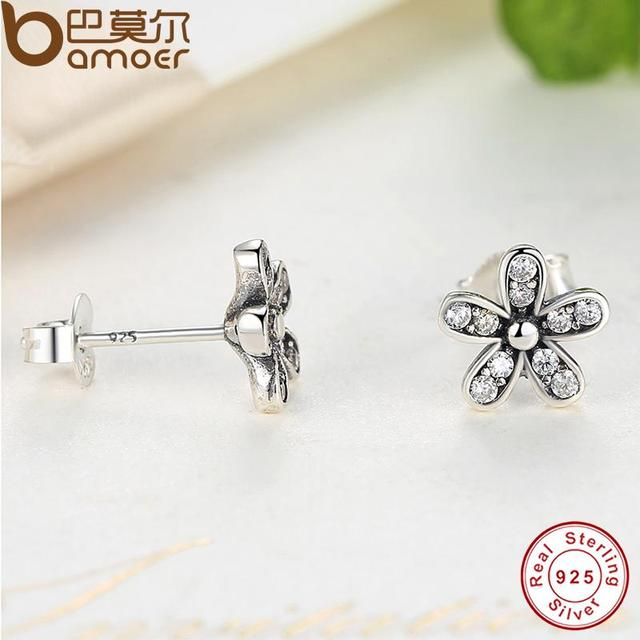 Sterling Silver Dazzling Daisy Stud Earrings