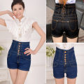2016 Women's Jeans Large Yards Breasted High Waist Denim Shorts Waist Was Thin Vintage Denim Hot Pants