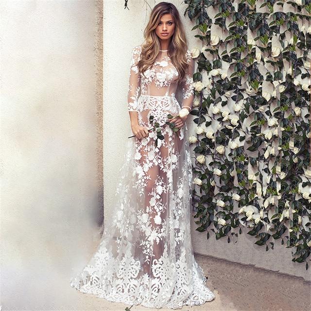 e6dd42ff36f 2017 Women see-through dress Hippie Boho Sexy Deep O-Neck Lace Beach Wear long  dress White Maxi Dress Vestidos FT316