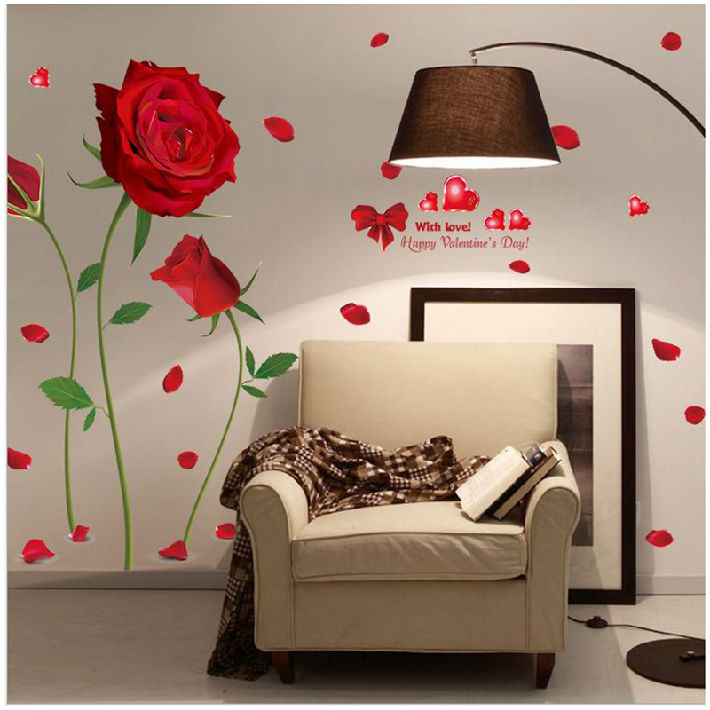 Home decor Red roses living room bedroom decorative stickers Removable  waterproof Wall Stickers wall accessories 5zcx104. Online Get Cheap Bedroom Accessories  Aliexpress com   Alibaba Group