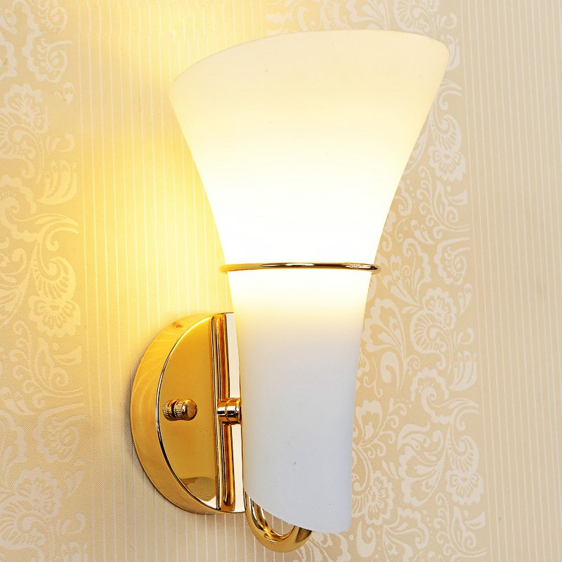 Modern Glass Calla Lily Bedroom Stair Case Wall Lights Frosted White Glass Heads Corridor bedsides contracted Wall Lamp Fixtures