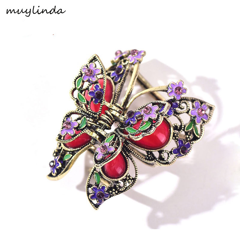 muylinda Vintage Butterfly Hair Claw Crab For Women Klip rambut Metal Big Hair Craw Accessories