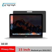 15 pulgadas de pantalla Filtro de Privacidad Protector de cine para 2016/2017 Portátil MacBook Pro 344mm * 223mm