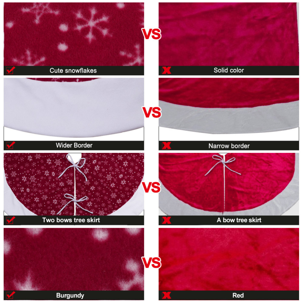 Ourwarm Christmas Tree Skirts Red Velvet XMAS Decoration Merry Supplies Home Outdoor Event Party In From