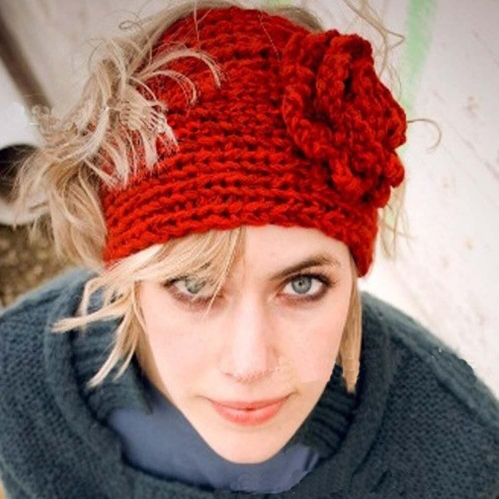 Fashion Autumn Winter Woolen Headband Knitted Crochet Earmuff Warm Turban Hair Band Headwrap For Women Adult woolen