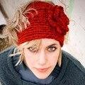 Moda Otoño Invierno de Lana de Flores Diadema de Punto de Ganchillo Orejera Caliente Turbante Headwrap Venda Del Pelo Para Las Mujeres Adultas