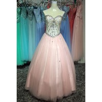 High Quality Fashion Sweetheart A Line Floor Length Pleat Beads Crystal Multi Tulle Plus Size Prom Dress Quinceanera Dresses