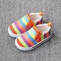 2016 Nova Crianças Sapatas de Lona Sapatas Da Criança Do Bebê Meninas Meninos Sapatas Dos Miúdos Sapatilha Sapatos Listrados