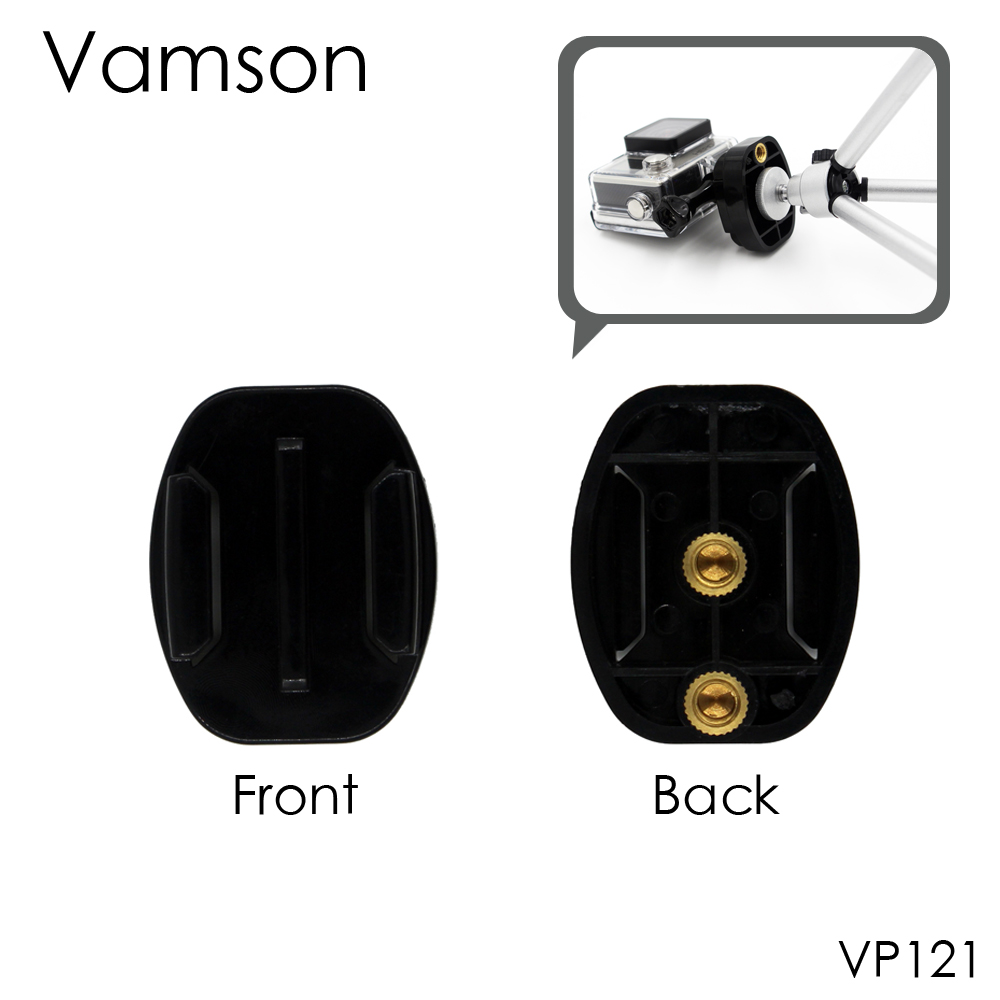 Vamson Camera Accessories Quick-release 1/4 Screw Flat Surface Buckle Tripod Mount For Gopro Hero 5 4 3+ for Xiaomi VP121 miniisw m ac universal curved surface mount kit for gopro hero 4 3 3 hero2 hero sj4000 black