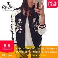 AZULINA Reversible Jacket Coat Floral Embroidered Bomber Jacket Women Autumn Flower Baseball Basic Jacket Female Black Coat 2018