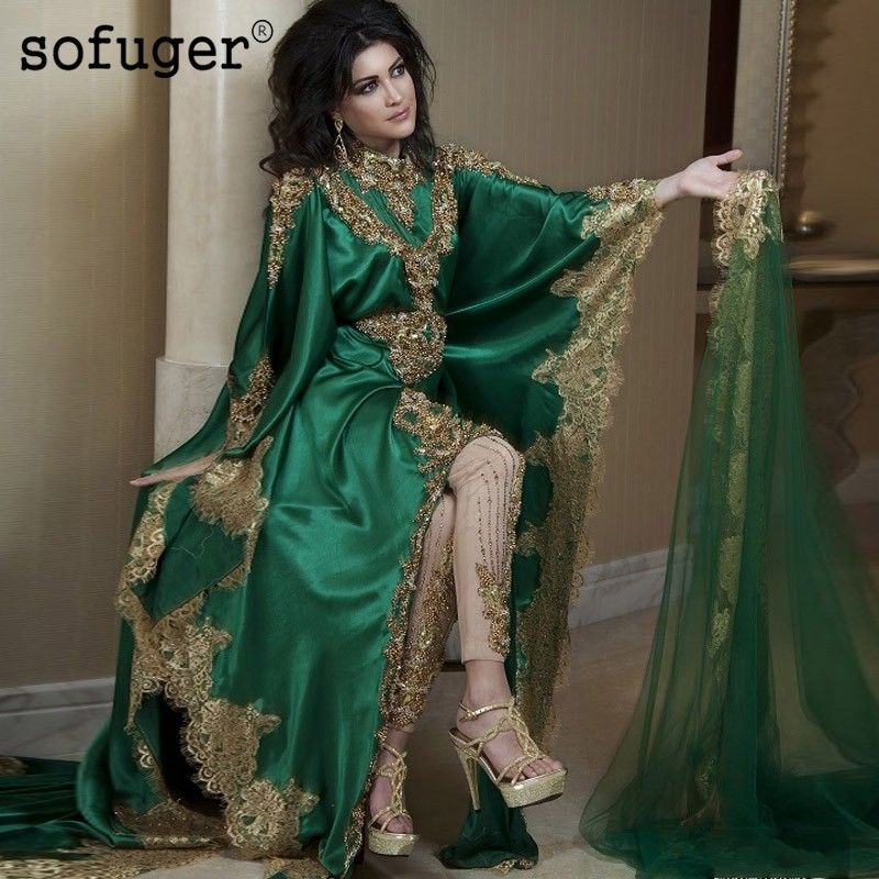 Luxury Vintage Green Middle East Muslim Party Dress O Neck Lace Dubai Arabic Saudi Arabian Sleeve Evening Dresses NO Pants