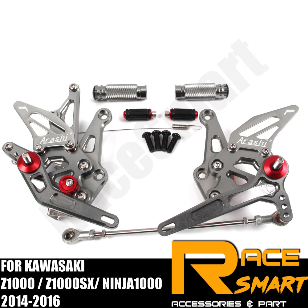 FOR KAWASAKI Z1000 Z1000SX Ninja1000 2014-2016 Rear Footrests Foot Rest Pegs Pedal Motorcycle Accessories CNC Adjustable Rearset