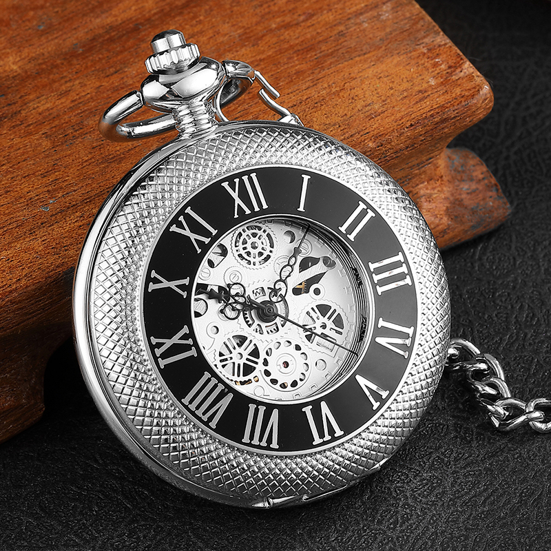 Luxury Unique Silver Mechanical Pocket Watch Mens Roman Number Sculpture Hollow Steampunk Skeleton Watch With Chain Women Gifts