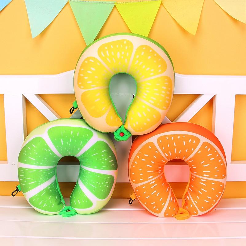 1 Stks Fruit U Vormige Kussen Watermeloen Citroen Kiwi Oranje Kussens Kussen Voor Beschermen De Nek Reizen Een