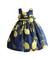 Fashion Girls Dress Lemon Pattern Ruffle Belt Kids Baby Dress Yellow Flower With Poly Ribbon Bow