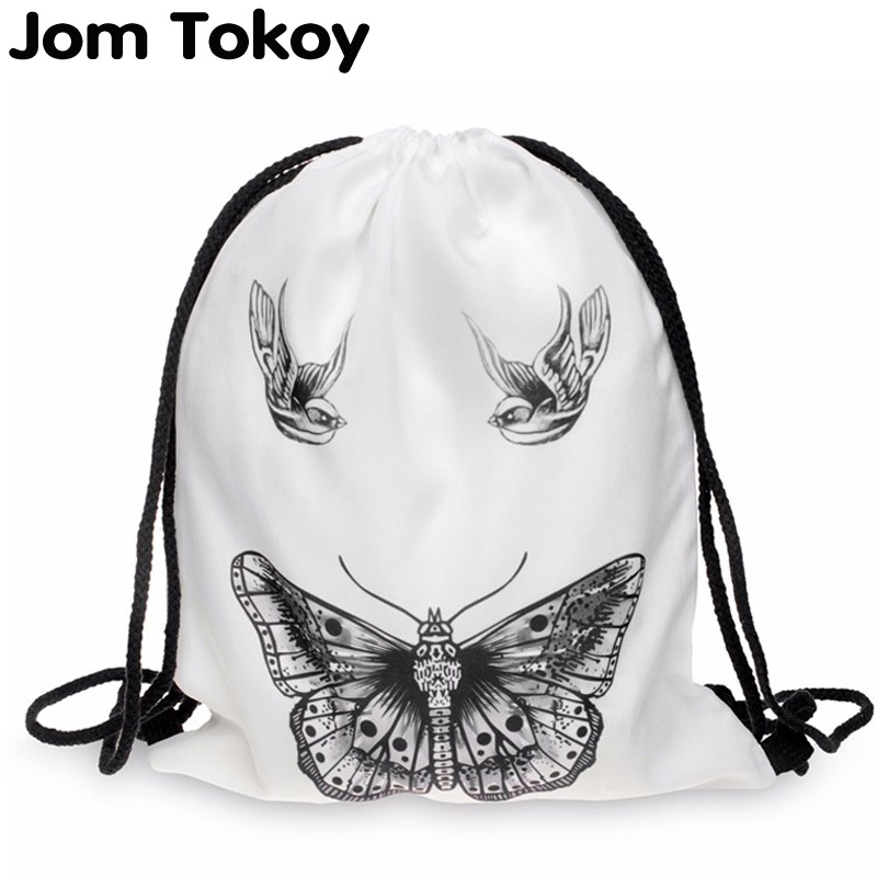Women Backpack Printing Bag For Picnic Mochila Feminina Harajuku Drawstring Bag Mens Backpacks Butterfly Tattoo