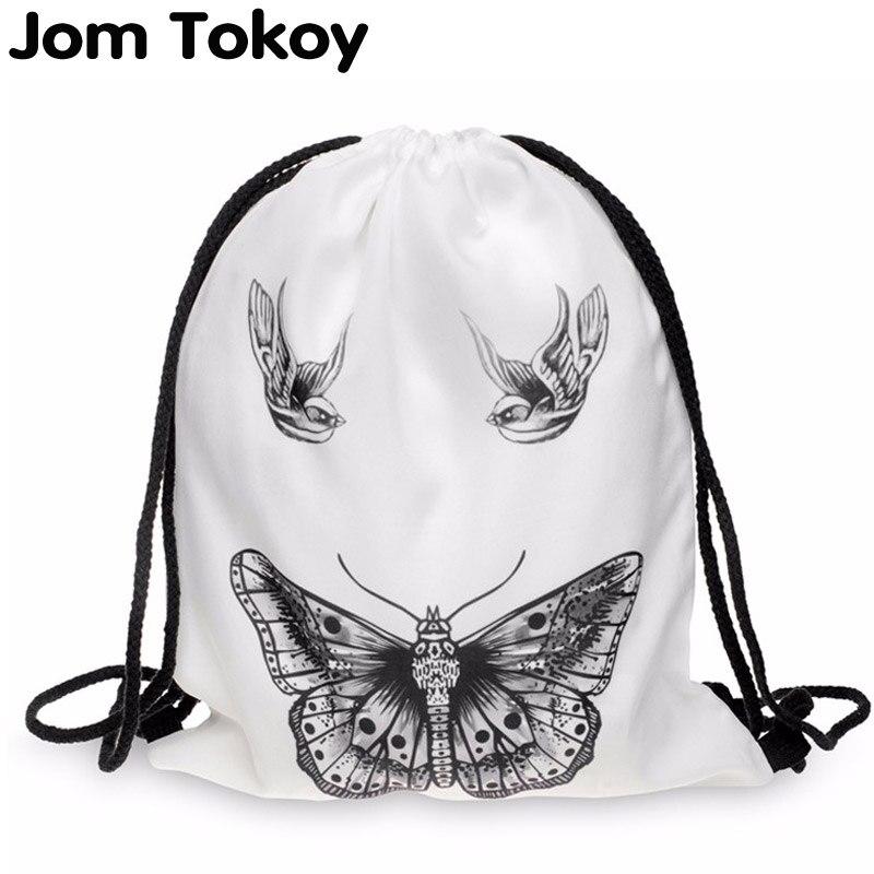 Women Backpack Printing Bag For Picnic Mochila Feminina Harajuku Drawstring Bag Mens Backpacks Butterfly Tattoo