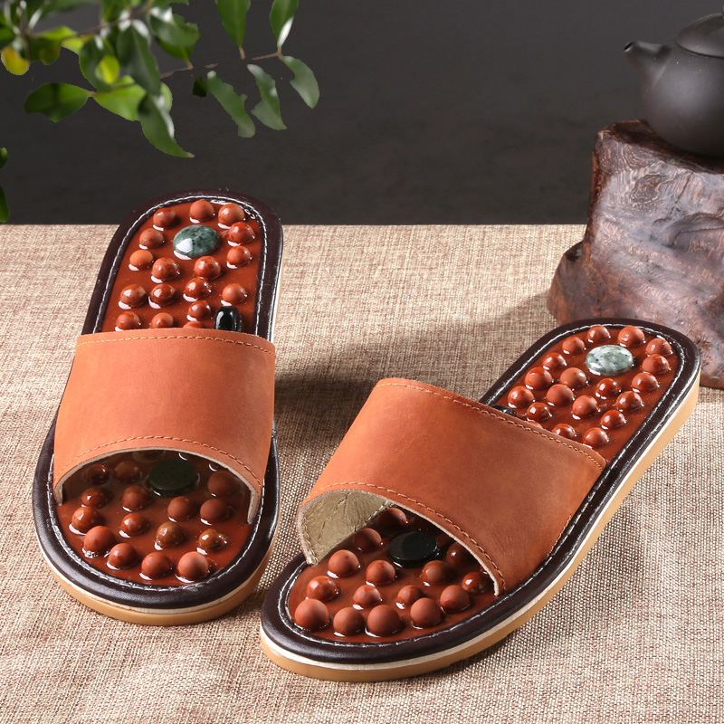 Health care Wooden base acupuncture foot massage slippers natural stone acupoint massage slippers free shipping 1 pair health care foot acupoint massager flat slippers for male female