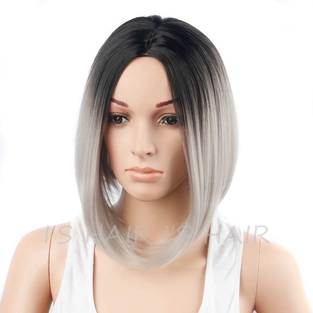 Short Straight Wigs for Black Women Short Bob Cut Wigs Heat Resistant Synthetic Ombre Wig Bob Hairstyle