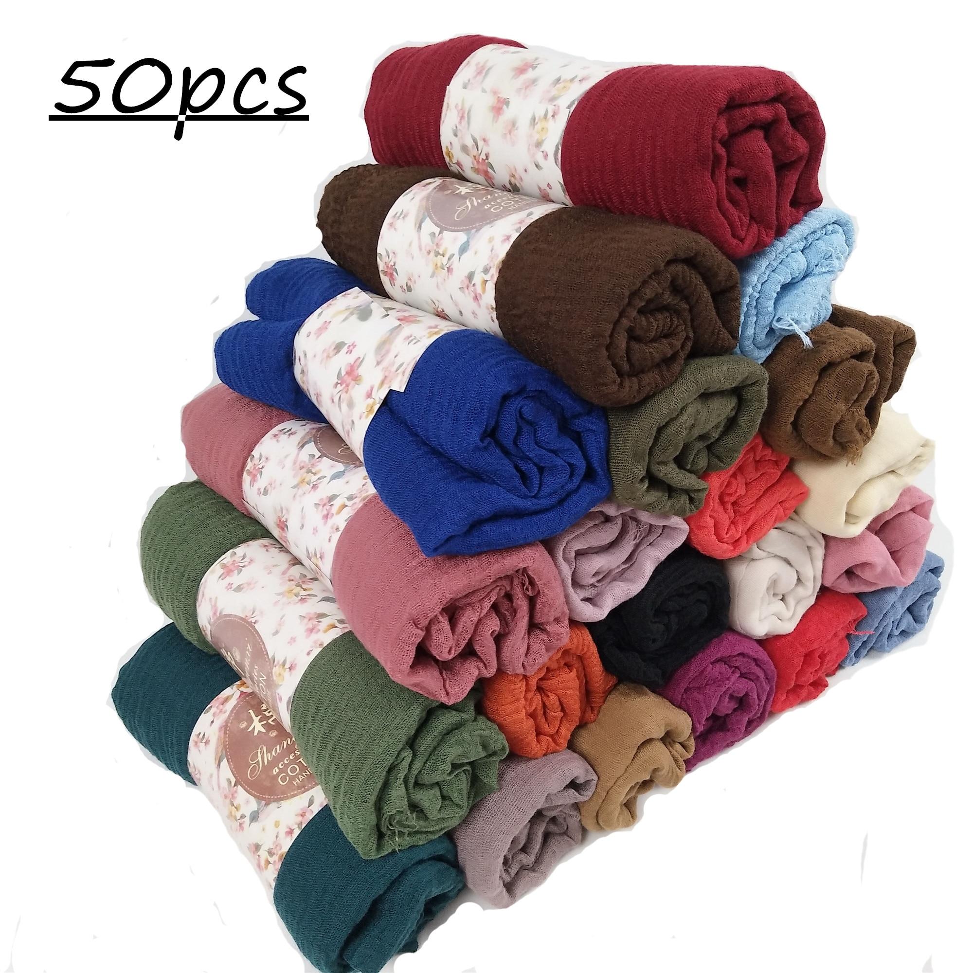 X1 50pcs Crinkle Plain Wrinkle Wrap Bubble Cotton Viscose Long Shawl Scarf Women Crinkled Hijab Shawl