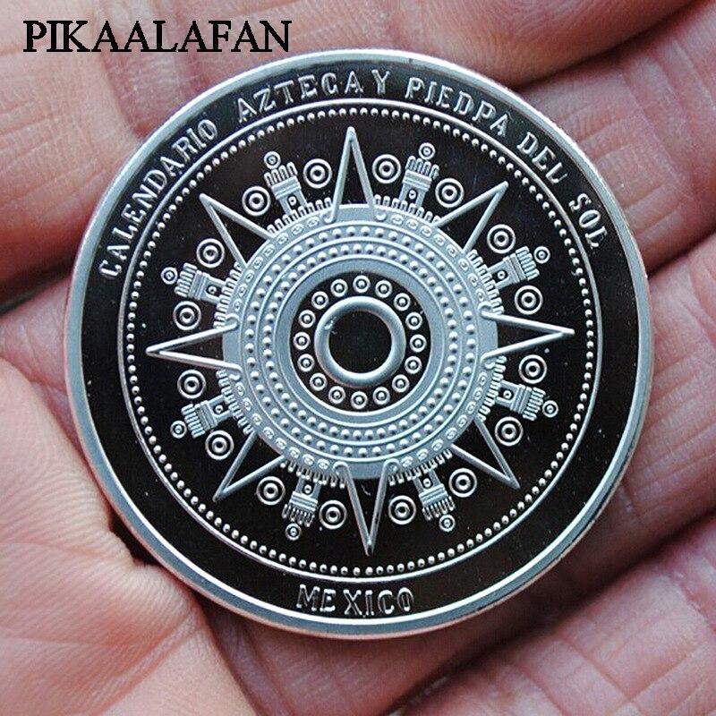 Pièce commémorative PIKAALAFAN calendrier maya mexicain pièces de monnaie aztèques collectant des pièces