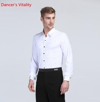 For Men Costumes for Ballroom Dance Shirt Collar Rack / Turndown Collar Padded Collar Man Costumes for Latin American Dance Top фото