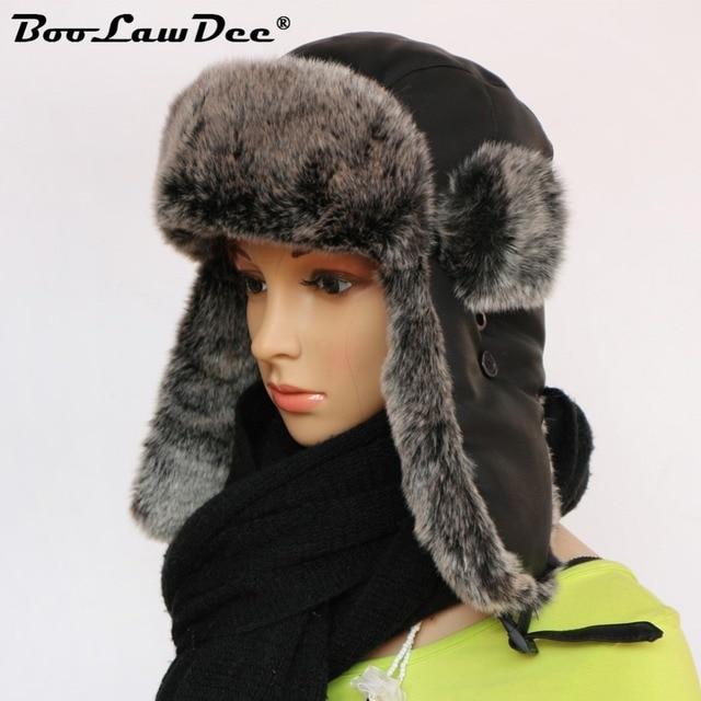 BooLawDee thick fur bomber hat ear protection pilot snow cap fashion warm  hats for men 56cm 58cm 60cm 62cm black brown M209 99cb75cc2fc