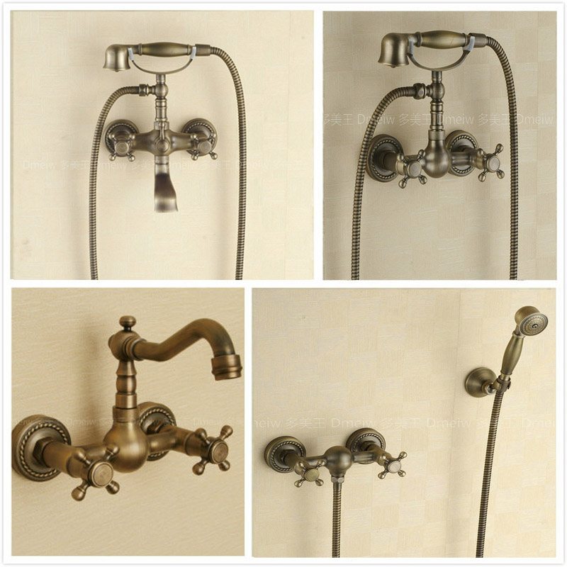 Brass Antique Dual Handles Bath Shower Faucet Telephone Style Wall Mounted Dual Handle Bathtub Mixer Faucet все цены