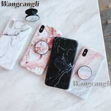 Marble TPU Case For iphone 7 8 Plus case for iphoneX XS MAX Scrub 6 6plus Protective shell and Phone Holder