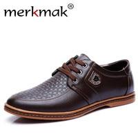 Merkmak New Men S Leather Casual Shoes Autumn Luxury Brand Shoes Men Flat Shoes Adult Moccasins